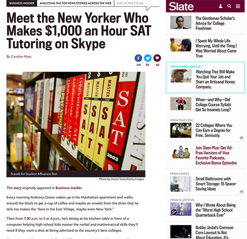 Slate Magazine features Anthony-James Green, America's best SAT Tutor